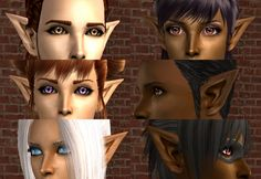 Mod The Sims - Elf Ears - 6 Colors to Match Astiees' Sparkling Flesh Skintones