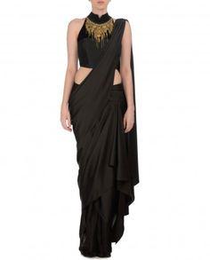 Black Satin Draped Halter Saree - Saris - Apparel