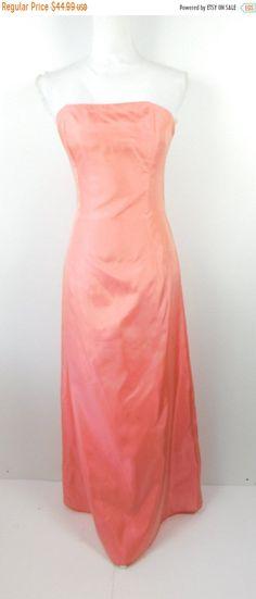 e55898876f5ef 30% SUMMER SALE Vintage Jessica McClintock Pink Shiny Satin Sleeveless Tube  Top Formal Cocktail Formal A Line Maxi Long Dress Sz 6 Small