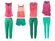 Bright Spring color combinations of sea greens/emerald and pinks/coral.