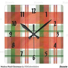 Madras Plaid Christmas Square Wallclock