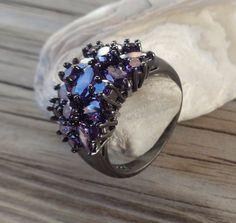 14k Black Gold Filled Black Amethyst Ring by PavlosHandmadeStudio