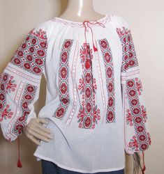 Hand stitched Romanian peasant blouse Ivory Silk, White Silk, Black Cotton, Peasant Blouse, Peasant Tops, Red Pattern, Long Blouse, Boho Tops, Embroidered Lace