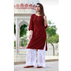 Keep Cart Rayon Kurti With Palazzo - Stitched Suit Pakistani Dresses, Indian Dresses, Printed Kurti Designs, Plain Kurti, Kurta Neck Design, Indian Designer Wear, Girl Fashion, Fashion Design, Lace Skirt