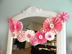 Valentine Paper Medallion Arrangement.  Inexpensive and too cute