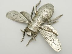 Sterling silver bee, ca. 1900. I just love bug jewelry...