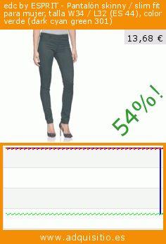 edc by ESPRIT - Pantalón skinny / slim fit para mujer, talla W34 / L32 (ES 44), color verde (dark cyan green 301) (Ropa). Baja 54%! Precio actual 13,68 €, el precio anterior fue de 29,71 €. https://www.adquisitio.es/edc-by-esprit/pantal%C3%B3n-skinny-slim-fit-115