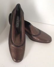 Stunning Prevata 7 1/2 AAA Italy flats loafer shoes bronze metallic leather EUC