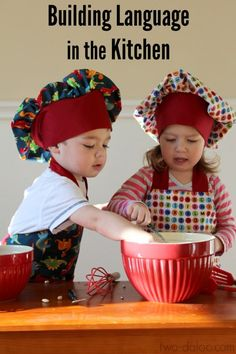 Tips and tricks for building language with cooking activities from a speech-pathologist and mom of toddler twins. Includes a roundup of kid-friendly recipes!