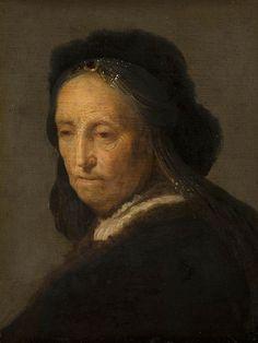 Naar Rembrandt: studie van een oude vrouw met hoofddoek. na ca. 1631. Koninklijk Kabinet van Schilderijen Mauritshuis, Den Haag. Kopie naar het origineel dat verloren is gegaan.  Verworpen toeschrijving Rembrandt. Mogelijk een Gerard Dou.