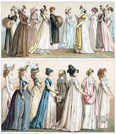 France, women's dresses between 1794 and 1800. From Geschichte des Kostüms (The costume history) vol. 5, by Auguste Racinet, Berlin, 1888. (Source: archive.org)