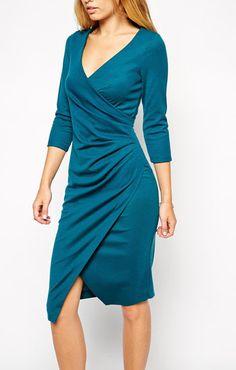 ea08de310c47a ASOS(エイソス)ミディドレス Wrap Front Long Sleeve Ponte Midi Dress Teal. エイソスラップドレスコガモラップ.  ASOS(エイソス) の女性らしい奇麗なラインを表現し ...