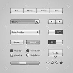 ライト ユーザー インターフェイス コントロール Web 要素ウェブサイト、ソフトウェアの UI のボタン、スイッチャー、スライダー、矢印、きれいなドロップ ダウン、ナビゲーション バー、メニューのツールヒント、チェック ボックス、ラジオ、スクロール、入力検索 写真素材 - 29983619