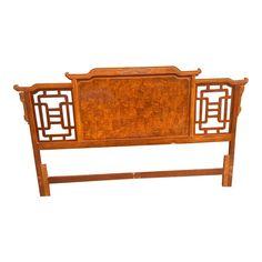King Headboard, Wood Headboard, Headboards, Asian Furniture, Asian Decor, Greek Key, Hollywood Regency, Keys, Solid Wood
