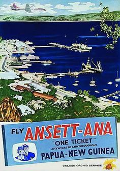travel poster for 'Fly Ansett-ANA, one Ticket, Anywhere to and throughout Papua New Guinea , circa Vintage Travel Posters, Vintage Airline, Australian Airlines, Australian Vintage, Beach Posters, Airline Travel, Aircraft Photos, Travel Cards, Beaches In The World