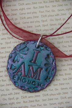 Hand Stamped 'I Am Enough' Organza Ribbon Necklace by 2DayIChoose, $20.00