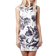 Petite Topshop Print Body-Con Dress ($85) ❤ liked on Polyvore featuring dresses, grey multi, petite, sleeveless bodycon dress, grey dress, floral sleeveless dress, petite dresses and gray dress