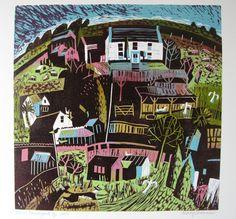 Devon Farmyard - linocut by Mary Sumner Linocut Prints, Art Prints, Garden Painting, Naive Art, Farm Yard, Wood Engraving, Print Artist, Contemporary Art, Contemporary Printmaking
