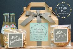 Our personalized gable boxes are ready to fill with special gifts and goodies for your out of town guests. What a great way to greet your tired travelers. Fill with homemade goodies, snacks, waters and treats along with local maps and even wedding itinerary. WHAT YOU WILL RECEIVE: 6 - 8