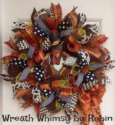 Deco Mesh Thanksgiving Wreath with Pilgrim Turkey, Fall Wreath, Autumn Wreath, Front Door Wreath by WreathWhimsybyRobin on Etsy
