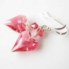 How we loved II Earrings swarovski crystal heart Valentine under 50 gifts
