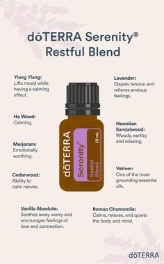 doTERRA Serenity has a calming aroma that creates a restful environment at bedtime. Vetiver Essential Oil, Essential Oils Guide, Essential Oils For Sleep, Essential Oil Diffuser Blends, Essential Oil Uses, Doterra Serenity, Doterra Essential Oils, Late Evening, Bedtime Routine