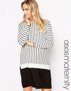 ASOS Maternity Midi Dress In Stripe With Woven Hem