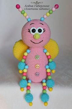 Schmetterling Kruglyash mit Perlen gestrickt Spielzeug … – Butterfly Kruglyash with beads knitted toy … – Amigurumi Patterns, Amigurumi Doll, Knitting Patterns, Crochet Patterns, Bead Crochet, Crochet Dolls, Crochet Baby, Sewing Projects For Kids, Crochet Projects