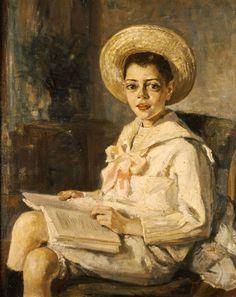 '' Boy Reading,'' 1906 by Flora Karavia Thalia Thalia, Girl Reading Book, Kids Reading, Reading Books, Greek Paintings, Feminine Mystique, 10 Picture, Greek Art, Art Database