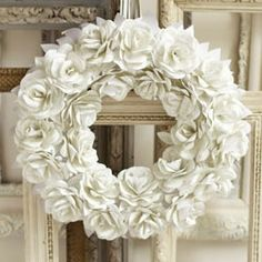 How to make a paper rose wreath tutorial. :]