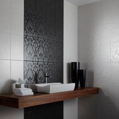 Chambray Brocade Black Ceramic Wall Tile To Redo Bathroom