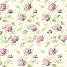 Hydrangea Grape Floral Cotton/Linen Mix Curtain Fabric