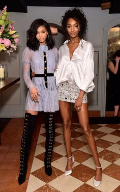 Chanel Iman and Jourdan Dunn attend Lynn Hirschberg Celebrates W Magazine's It Girls with Stuart Weitzman at A.O.C on January 7, 2017 in Los Angeles, California.