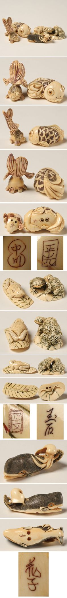 Japanese Carved Ivory Netsuke 5pc Fish Frog Whale   Antique Helper