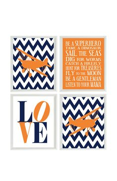 Airplane Nursery Art - Chevron Navy Blue Orange Boy Room Aviation Flying - Boy Rules LOVE - Baby Boy Nursery Toddler Big Boy Room Wall Art