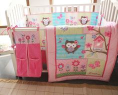 Baby Bedding Crib Cot Sets. 8 Piece Cute Owl Theme