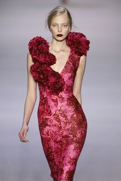 Red ruffles! Tanya Dziahileva on the runway for Giambattista Valli.