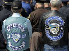 These retired police officers wear their Blue Knights