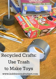 Looking for some ideas for crafty stuff with your kids?  Just look in the recycle bin!! #recycledcrafts