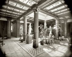 """Saratoga Springs, New York, circa 1901. """"Atrium in the House of Pansa."""" Replica of an ancient Roman home at the Pompeia, a museum in the upstate New York resort town of Saratoga Springs offering """"Illustrations of History and Art."""" 8x10 inch dry plate glass negative, Detroit Publishing Company"""