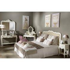 Tête de lit romantique capitonnée bois blanc et tissu beige AMANDINE L165xH126 AMADEUS