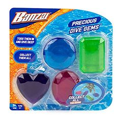 Banzai® Precious Dive Gems™, at Big Lots. Swimming Pool Games, Underwater Swimming, Diving Pool, Inflatable Floating Island, Inflatable Shark, Discovery Toys, Lounge Party, Water Party