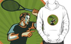 Tennis Player Racquet Circle Retro by patrimonio