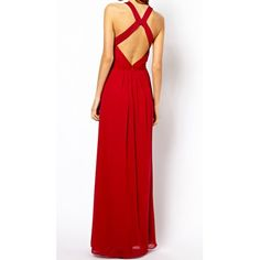 Charming Round Collar Solid Color Backless High Waist Sleeveless Chiffon Dress For Women, RED, XS in Maxi Dresses | DressLily.com