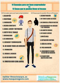 14 consejos para ser buen emprendedor (y 12 cosas para el fracaso) #infografia #entrepreneurship