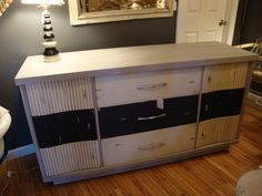 A mid century dresser in a tri color treatment!