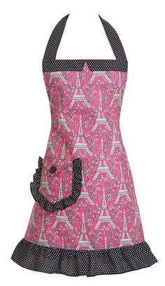 Holiday Hostess Gift - J'aime Paris Pink apron with a bottle of French Wine or Champagne - Bon appétit!