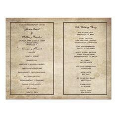 Vintage Elegance Distressed Paper Wedding Program Personalized Flyer