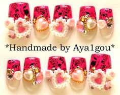 neon pink hime gyaru kawaii nail art