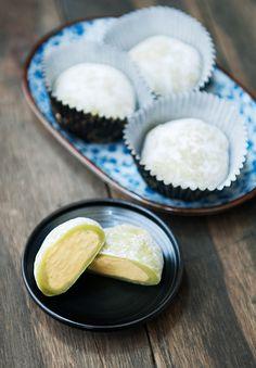 Matcha Green Tea Mochi  with Ice Cream Inside --  glutinous rice flour, matcha green tea powder, water, sugar, potato starch or cornstarch, ice cream